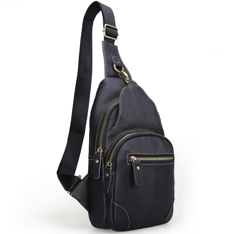Brand Bag Men Small Travel Chest Pack Genuine Leather Men Messenger Bags Single Rucksack Chest Bag Leather Shoulder Bag<br>