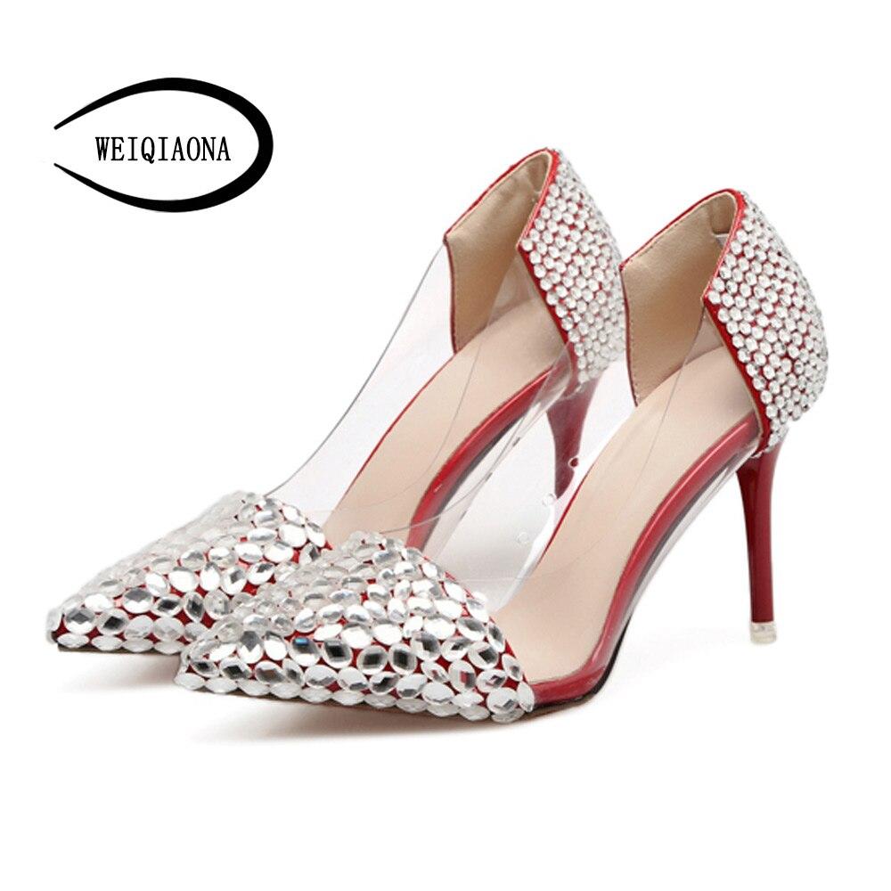 WEIQIAONA Womens shoes new handmade  custom diamond pierced shoe pointed shallow high heels wedding  dresses  bridesmaid shoes<br>