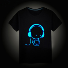Height 100cm-160cm short sleeve Kids boys girls t shirt children tops Hip Hop Neon Print Party Club Night light punk top tees