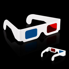 300 pcs/LOT Paper 3D Glasses 3D virtual video rearview red blue anaglyph red / blue 3D glasses, PG550