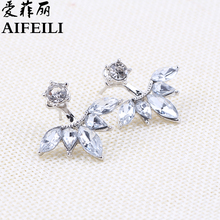 AIFEILI Fashion Earing Big Crystal Silver Color Ear Jackets Jewelry High Quality Leaf Ear Clips Stud Earrings For Women 1 Pair(China)