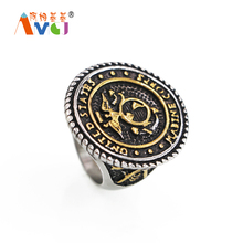 AMGJ Men's Titanium Steel United States Marine Corps Army Military Ring Punk Style Jewelry(China)