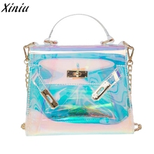 Womens Transparent Handbag Clear Messenger Body Bag Jelly Shoulder Tote Bag Bolsas Feminina #9905(China)