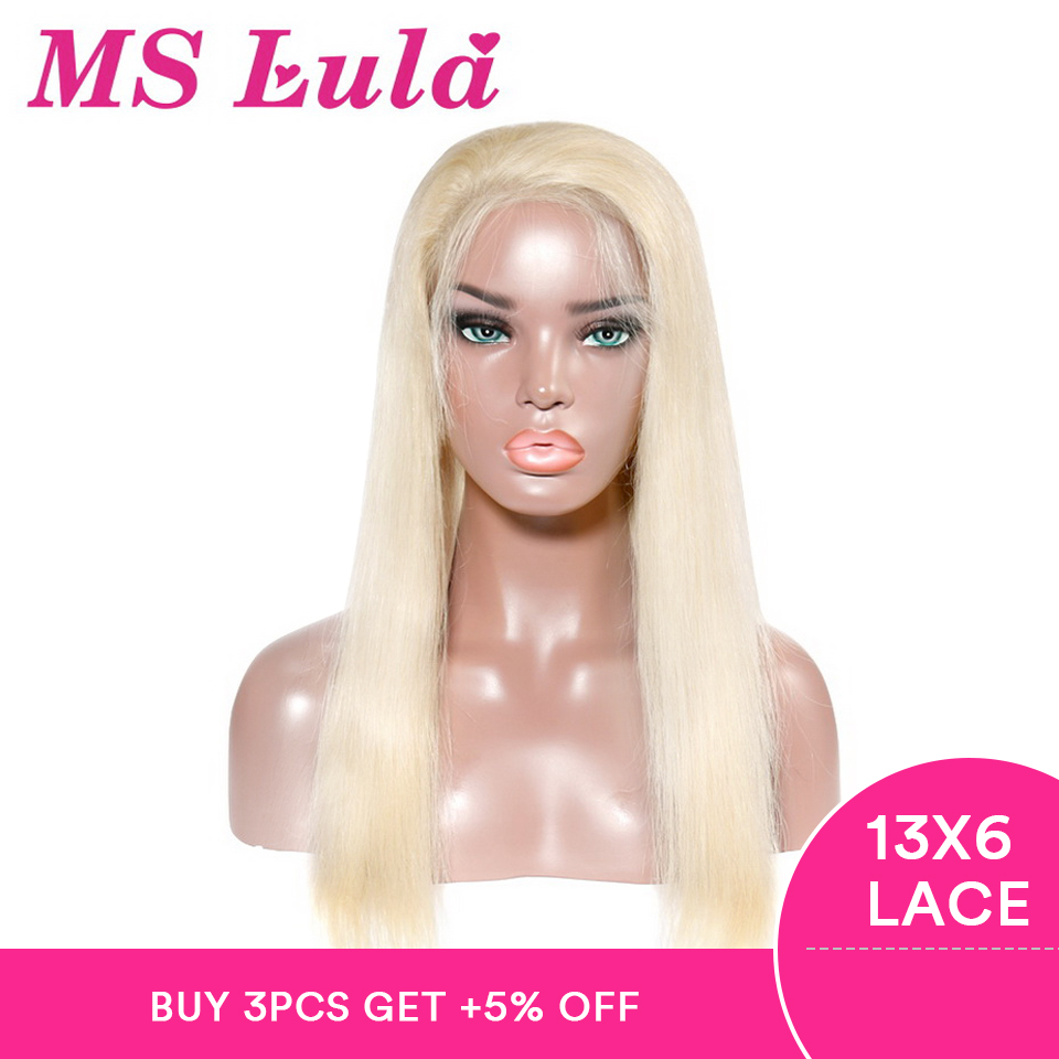 Ms lula Straight Blonde 13x6 Lace Front Wig Pre Plucked With Baby Hair Brazilian Human Lace Wigs Remy Hair Natural Color 613(China)