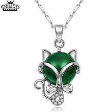 DELIEY High Quality 100% Real 925 Sterling Silver Natural Green & red Agates Fashion Fine Jewelry Fox Necklace Pendant For Women(China)