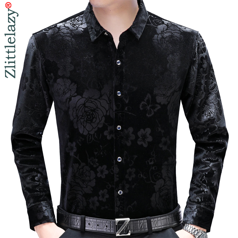 2019 social long sleeve floral thick winter warm shirts men slim fit vintage fashions men's shirt man dress casual jersey 5055