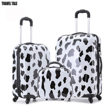 "TRAVEL TALE 13""20""24 zebra/cow Trolley Luggage set Cheap travel Suitcase and cute Travel Bags for children"