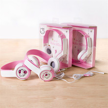 Cute Hello Kitty 3.5mm Stereo Mega Bass Headband Headphone Headset Kawaii Big Earphone For iPhones HTC xiaomi With Microphone
