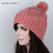Cheap 2017 Women Thick Caps Skullies Twist Stripes Pattern Women Knitted Sweater Hats pom poms Winter Hat Beanies Cap Female(China)