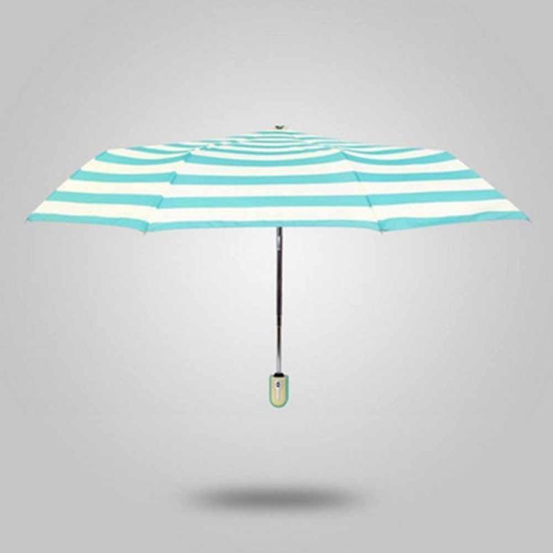 1pc Ultra-light navy stripe umbrella full automatic Vinyl umbrellas sun ... bbe94c0688d91
