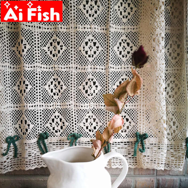 American Country Crochet hollow cotton linen kitchen curtains home garden bay window partition short curtain for door QT035#4