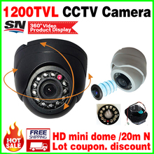 Very Small! 1/3cmos read 1200TVL Mini Indoor Dome Hd Cctv Security Analog Camera IR-cut 12LED Infrared Night Vision 20m vidicon