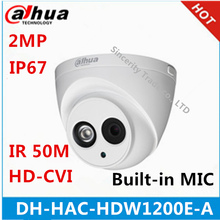 Original Dahua DH-HAC-HDW1200E-A HDCVI camera built-in MIC 2MP IR 50M IP67 Security CCTV Camera HAC-HDW1200E-A(China)