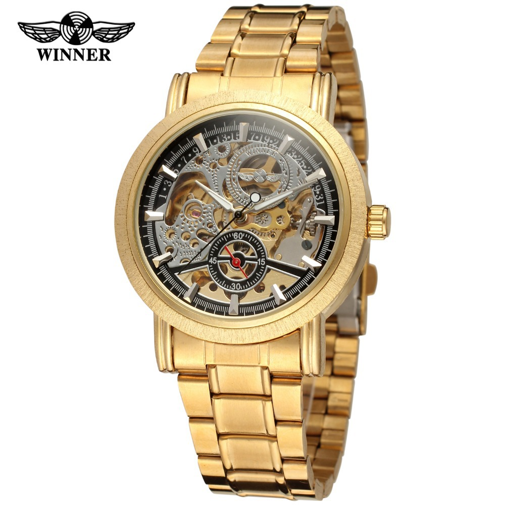 Winner Mens Watch Hot Sale Luxury Fashion Skeleton Stainless Steel Band Attractive Famous Brand Wristwatch Color Gold WRG8077M4<br>