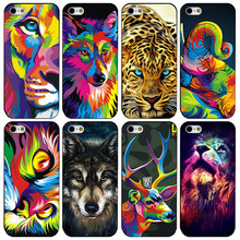 2017 NEW Cool Colorful lion Deer Wolf Painted Phone Cover Case For iphone 4 4s 5 5s 5c 6 6s 6 plus 6s plus 7 7 plus