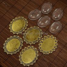 Alloy Cabochon & Rhinestone Settings and 40x30mm Oval Clear Glass Covers Sets, Lead Free & Nickel Free, Antique Golden,