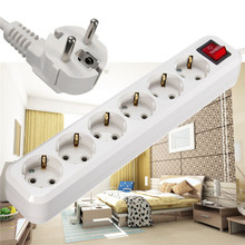 New 6 AC Power Sockets 10A 250V Power Strip EU Plug Overload Switch Surge Protector 6 Outlet Extension Lead Adapter