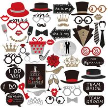 54pcs/Set Party Photo Booth Props Wedding Photo Booth Props Mustache Birthday Party Favors Mustache Lips Photobooth Props(China)