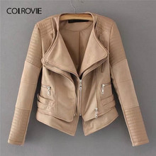 COLROVIE Khaki Zipper Pocket Biker Quilted PU Leather Jacket Coat Women 2019 Spring Fashion Ladies Jackets Female Outerwear(China)