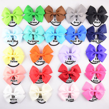 "24pcs 3"" Solid Ribbon Hairbow For Children Hair accessories Girls Hair rope Black Elastic HairBands kid bow hairband Hair ring"