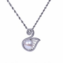 AAA bread shape freshwater pearl pendant necklace sterling-silver-jewelry rhinestone for Christmas gifts(China)