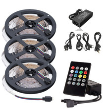 5m 10m 15m Music RGB LED Strip Light DC 12V 60 leds/m Colorful Tape Ribbon+IR Music Controller+12V 2A 3A 5A LED Power Supply