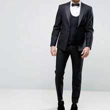 2018 Three Piece Black Business Men Suits Peaked Lapel One Button Straight Wedding Groom Tuxedos (Jacket + Pants + Vest)(China)