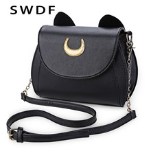 SWDF Summer Sailor Moon Ladies Handbag Black Luna Cat Shape Chain Shoulder Bag PU Leather Women Messenger Crossbody Small Bag