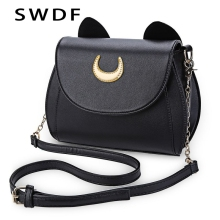 SWDF Summer Sailor Moon Ladies Handbag Black Luna Cat Shape Chain Shoulder Bag PU Leather Women Messenger Crossbody Small Bag(China)