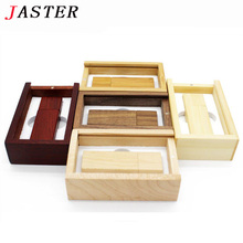 JASTER (over 10 pcs free LOGO) Wooden usb + box usb flash drive memory Stick pendrive 8gb 16gb 32gb Photography wedding gift