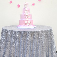 108inch Round Silver Sequin Tablecloth wholesale Wedding Beautiful Sequin Table Cloth / Overlay /Cover (Champagne)