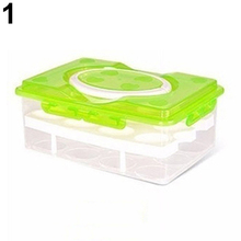 Double Layer Refrigerator 24 Eggs Holder Airtight Storage Container Plastic Box(China)