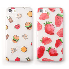 Mouplayca Summer strawberry Hamburg Emboss frosted soft TPU back cover cases for iphone 6 6s plus 7 plus phone cases