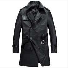 Men Pu Coat Autumn Faux Leather Vintage Jackets And Coat Long With Belt Fashion Men Pu Jackets For Fall Men'S Coat Wt1033