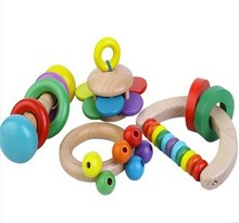 Buy Free Shipping!! Wholesale Baby Toys Colourful Creative Hand Bell Rattles Wooden Toys Baby Shaking Toys Children Wooden Toys for $29.78 in AliExpress store