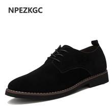NPEZKGC Leather Shoes for Men Casual Oxfords New Arrival High Quality Fashion Cow Suede Leather Flats Luxury Brand Moccasins(China)