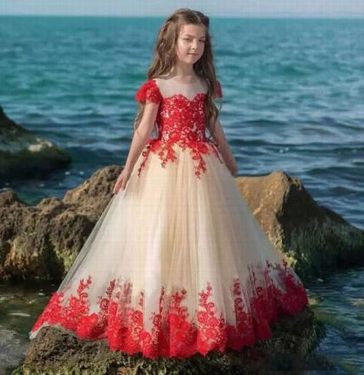Lace Appliques Sleeveless Long Train Ruffles Holy Communion Infant Girls Dresses Kids Prom Tulle Ball Gowns 0-12 Year st145 (1)