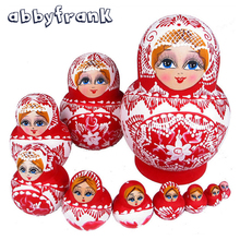 Abbyfrank 10Pcs/Set Babushka Matryoshka Russian Nesting Dolls Traditional Ethnic Dolls Braid Girl Hand Paint Gifts Toys For Baby(China)