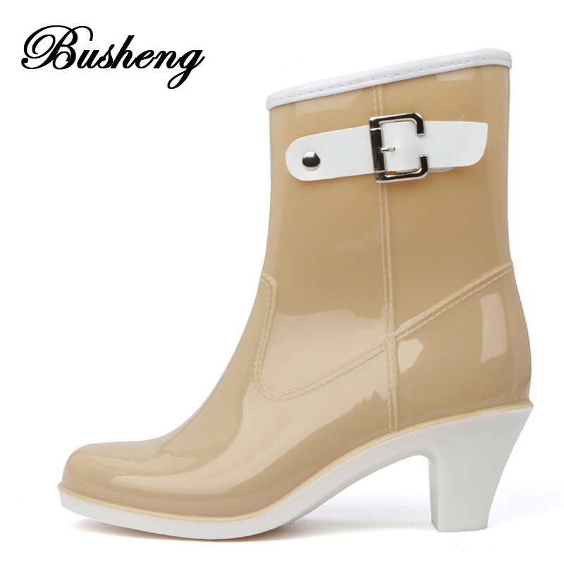 Rain Boots Women Waterproof Shoes Ankle Rubber Boots High Heel Rainboots Plus Size Botines Mujer Femininas Botas De Lluvia 2015<br><br>Aliexpress