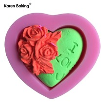 Heart Shape Flower Chocolate Candy 3D Silicone Mould Cartoon Figure/cake Tools Soap Mold Sugar Craft Cake Decoration   C320