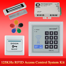 OBO HANDS rfid keypad door access control system kit electric Magnetic electronic door lock+power supply+5pcs key fobs full set(China)
