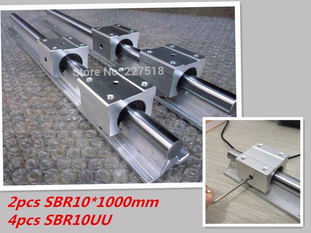 2pcs SBR10 L1000mm linear rail support with 4pcs SBR10UU linear guide auminum bearing sliding block cnc parts<br>
