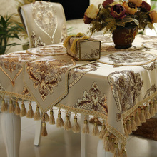 Light Beige Brown Europe American Style Formal Dinning Table Covers Runners / Custom Size Home Decorative Tablecloth Sets