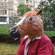 Funny Brown Color Full Face Halloween Horse Mask Horse Head Christmas Easter Party Masks Decoration Gifts