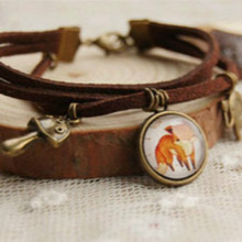 Flyleaf New 2015 Vintage fox leather charm bracelet for women handmade vintage jewelry accessories pulseras mujer(China)