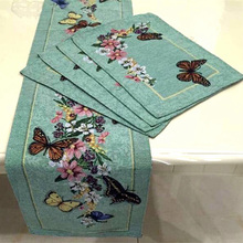 Vintage Butterfly and Flower Rustic Table Runner 33x180cm Jacquard Dining Green Table Flag Home Wedding Decoration(China)