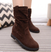 Size 35-40 Winter Women Shoes 2017 Height Increasing Winter Boots Ladies Vintage Flock Mid Calf Boots Women Ladies Boots