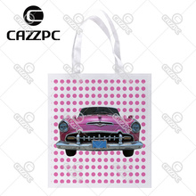 Pink Dot and Vintage old Car Print Custom Non-Woven Fabric Reausble Grocery Shipping Storage bag Pack of 4