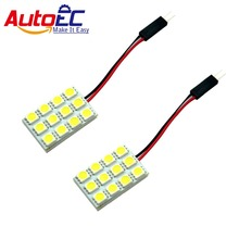 AutoEC 10pcs Festoon Dome T10 Ba9s 12 SMD 5050 LED Car Interior Work Lights lamp bulbs tube 12V white blue #LL09(China)