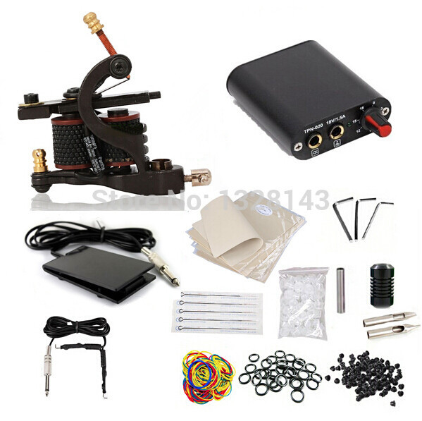 New Brand 100% 1 set Complete Tattoo Equipment Supply Professional Power Supply Machine Gun Tattoo Kit Set Free shipping<br>